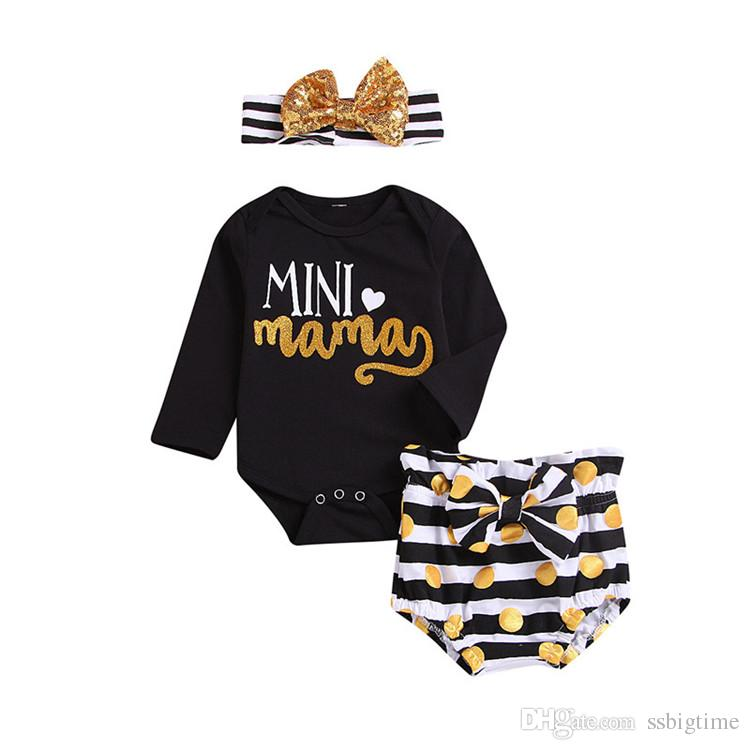 8e63c41fae921 2019 Girls Baby Rompers Clothing Sets Letters Black Toddler Romper Bow  Shorts Headbands 3Pcs Set Newest Toddler Outfits Boutique Clothes