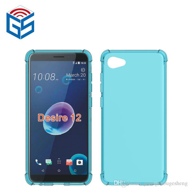 low priced 3fd5c cca15 For HTC Desire 12 12 Plus 12 12Plus Clear Case Anti-knock Edge Design  Transparent TPU Mobile Back Cover