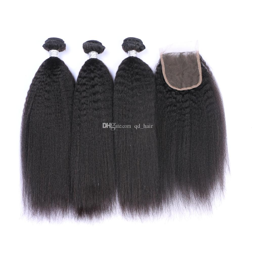 High Quality Kinky Straight Hair Bundles With Lace Closure 4Pcs/Lot 100 Coarse Yaki Hair Weaves With 4x4 Lace Closure