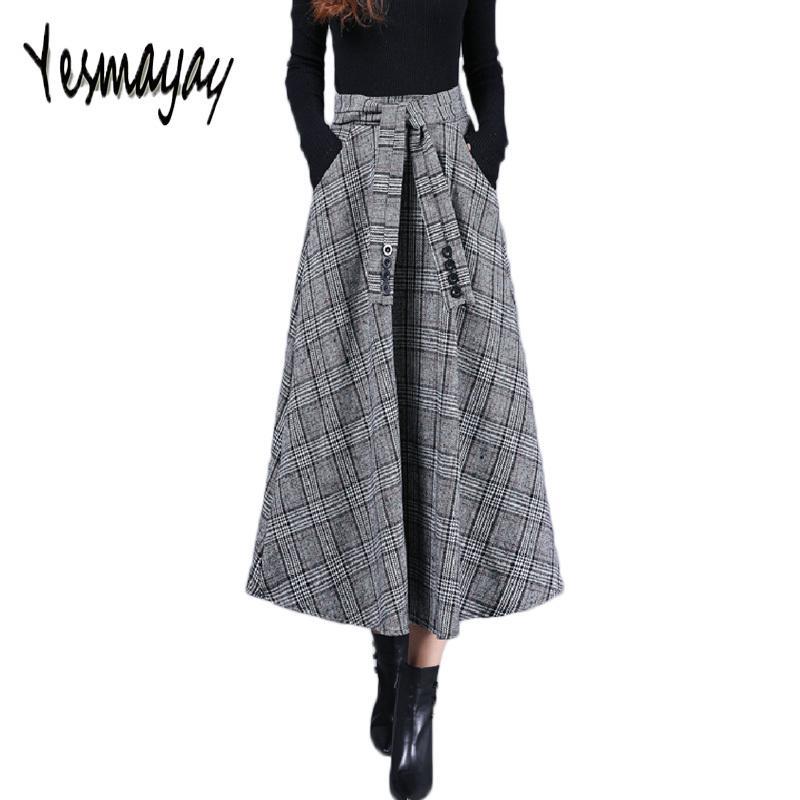 a469324290b Acheter Longue Jupe Longue Pour Les Femmes Laine Chaude Automne Hiver  Vintage Taille Haute Jupe À Carreaux Jupe
