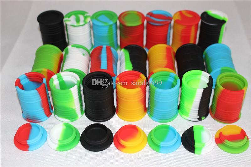 Nonstick Wachsbehälter 11ml Öl Trommelform Silikonbehälter Lebensmittelqualität Gläser Tupfen Werkzeug Vorratsglas Öl Halter für Vaporizer Vape