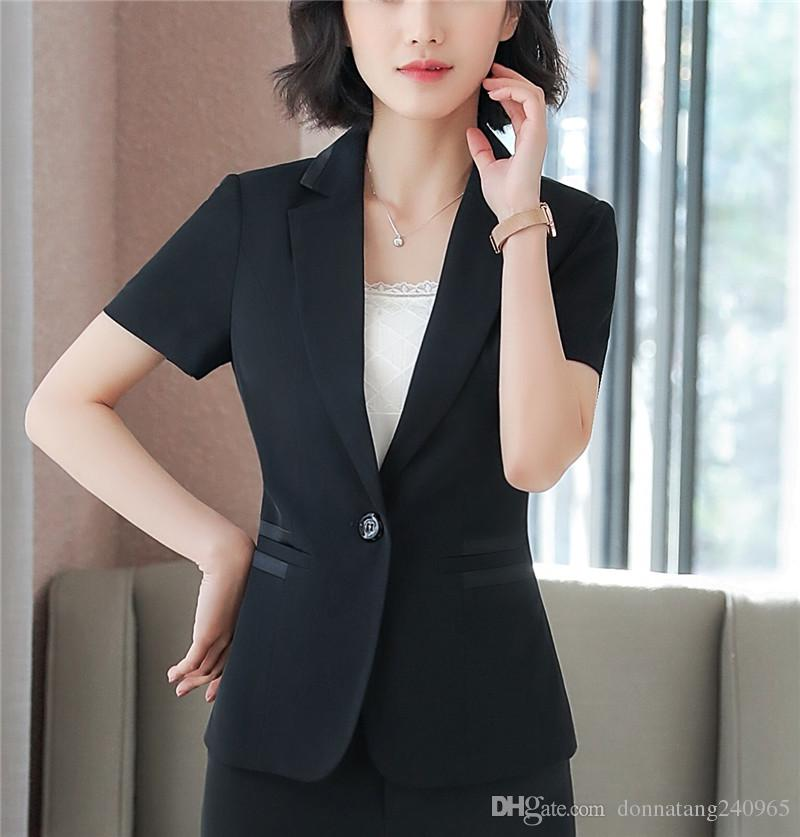 c1abe2761514 2019 Fashion Women Black Blazer Business New Summer Formal V Neck Short  Sleeve Jackets Office Ladies Plus Size Work Wear Black From  Donnatang240965