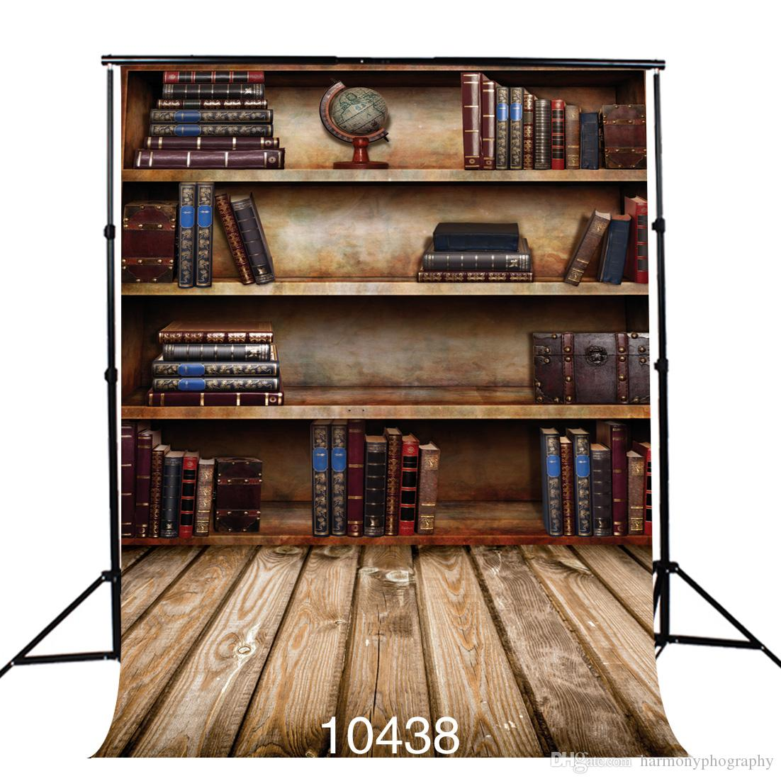 2018 Bookshelf Photography Backdrop Nostalgic Wooden Floor Photo Background Vinyl Cloth 3D Backgrounds For Studio Portrait Door From Harmonyphography