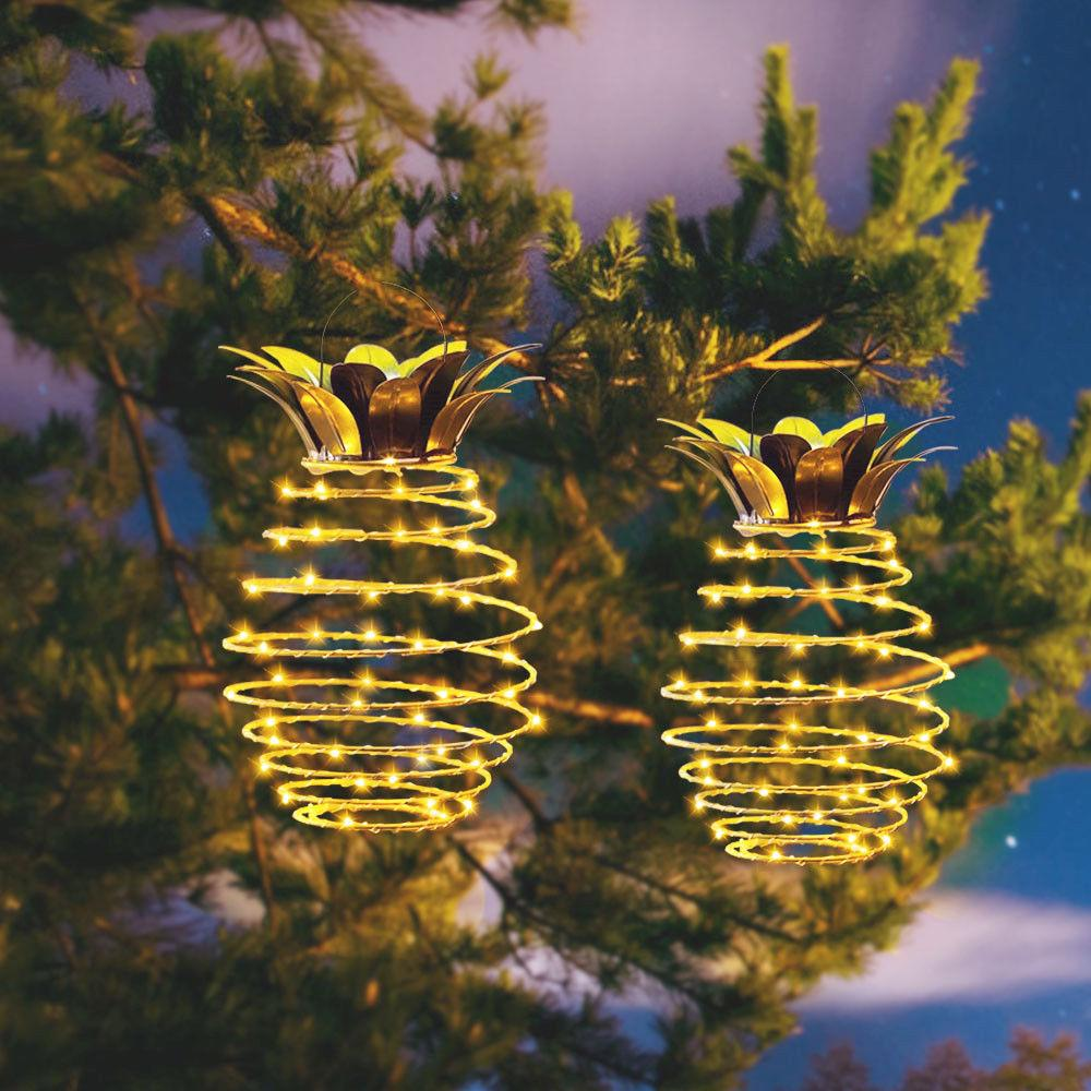 Light Bulbs Led Garden Light Solar Lights Outdoor Decor Pineapple Hanging Fairy Lamp Waterproof 24 Led For Home Landscape Christmas Party
