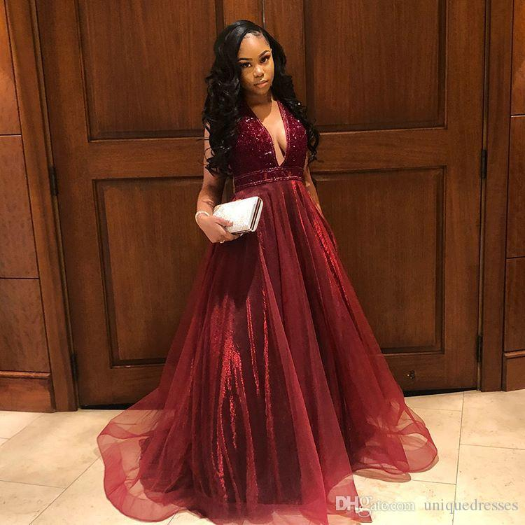 Burgundy Long Prom Dresses