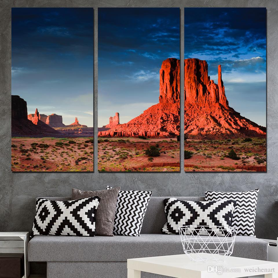 3d73023b1a9 2019 3 Panels Canvas Art Scottsdale Desert Red Rock Home Decor Wall Art  Painting Canvas Prints Picture For Living Room Poster XA1123C From  Weichenart