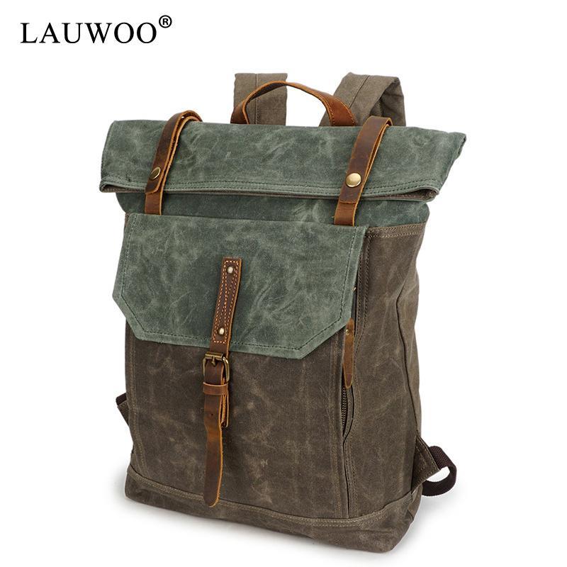 High Quality Vintage Fashion Casual Canvas Crazy Horse Leather Women Men  Backpack Backpacks Shoulder Bag Bags For Lady Rucksack Back Packs Rolling  Backpacks ... de7c905a2a853