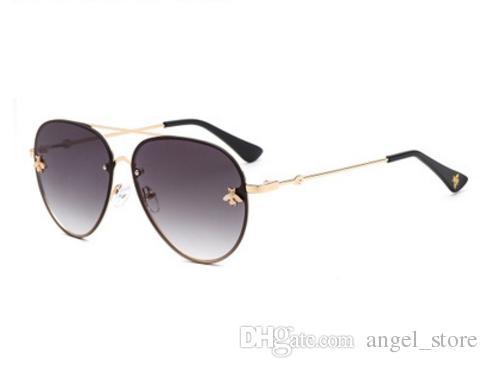 2ea266237a9 Oval Bee Sunglasses Women Men 2018 Fashion Metal Frame Eyewear Brand ...