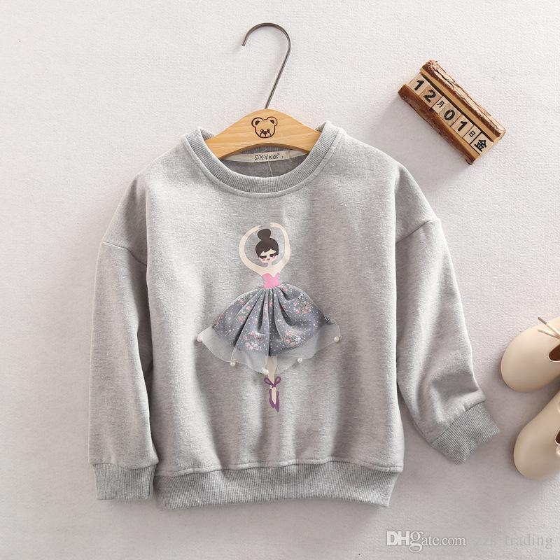 Hoodies das meninas Camisola 2017 Outono Casaco Menina Dos Desenhos Animados Outwear Bebê Crianças Roupas crianças jaqueta Espessamento Existem 3 cores