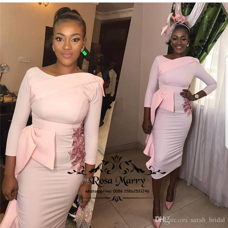 13c1985cfdc Sexy Pink African Short Cocktail Dresses 2018 Plus Size Long Sleeves Black  Girls Arabic Cheap Simple Formal Prom Evening Party Gowns Cocktail Dresses  Perth ...