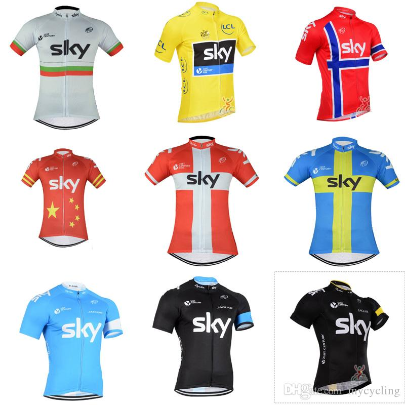 960cbe00c 2018 Team Sky Cycling Jerseys Quick Dry Breathable Tour De France Mtb  Bicycle Shirt High Quality Short Sleeves Mountain Bike Tops C2401 Women Shirts  Best T ...