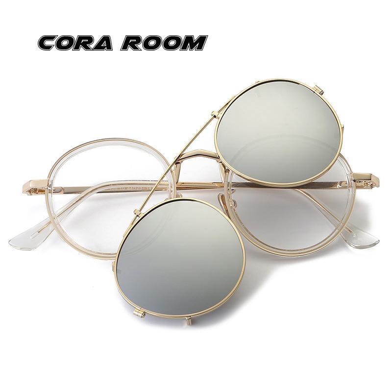 d9c224b517 New TROf Mirrors Fashion Retro Round Glasses + Polarized Clips Unisex Flat Glasses  Personalized Sunglasses UK 2019 From Beijiaer