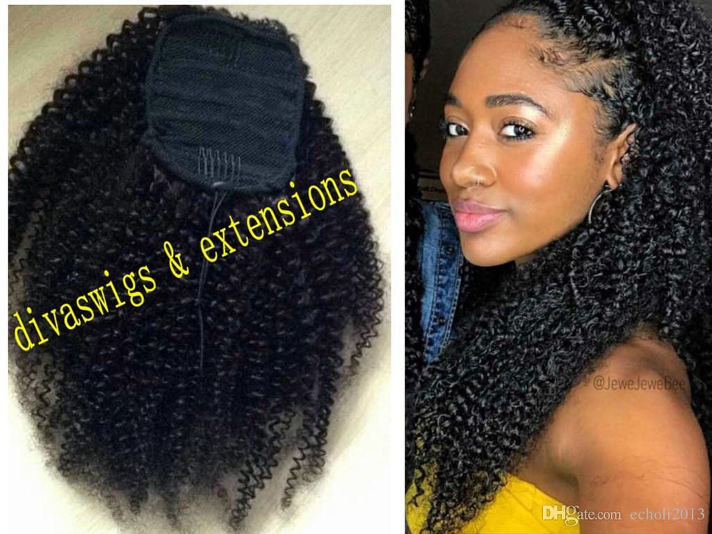 Clip afroamericano en 3c Afro soplo Kinky rizado con cordón ponytails extensión del pelo humano cola de caballo pieza de pelo azabache negro 160g envío gratis