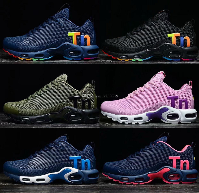 e87dc1879c 2019 2018 NEW Mercurial Plus Ultra Tn Nano Air Cushion Running Sport Shoes  Black Rainbow Men Women KPU Trainers Designer Outdoor Hiking Sneakers From  ...