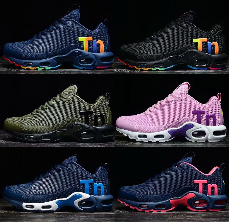 buy online e58c9 d3ae2 Acheter 2018 NOUVEAU Mercurial Plus Ultra Tn Nano Coussin De Course À Pied  Chaussures De Sport Noir Arc En Ciel Hommes Femmes KPU Baskets Designer De  Plein ...