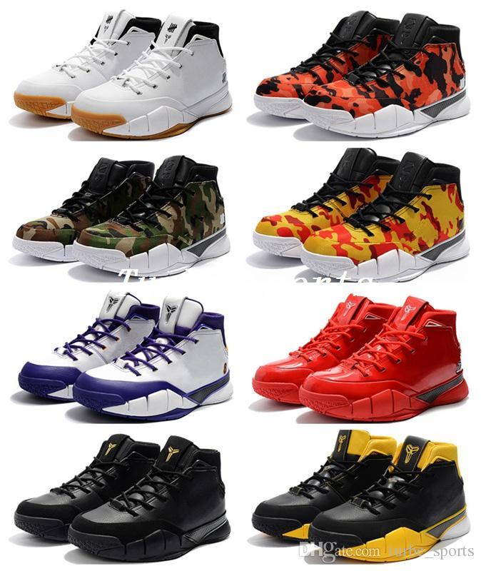 7fcc60281e8 Compre 2018 Nuevo Zoom Kobe 1 Protro Mamba Day Goma Blanca Invicto KB 1  Amarillo Rojo Camo Final Segundos Zapatos De Baloncesto Para Hombre Demar  Derozan A ...