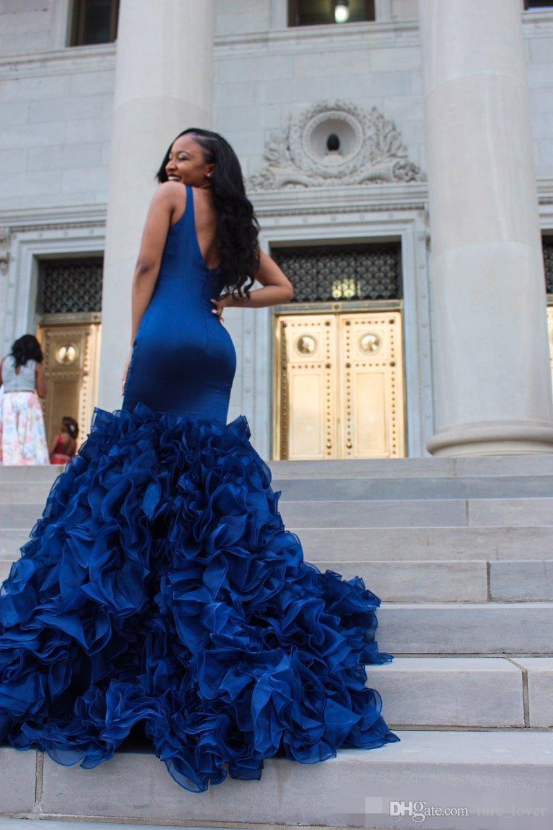 2018 Royal Blue Prom Kleider Abendkleider Sexy Tiefem V-Ausschnitt Sleeveless Mermaid Rüschen Organza Rock Formelle Party Kleider Kleider Abend