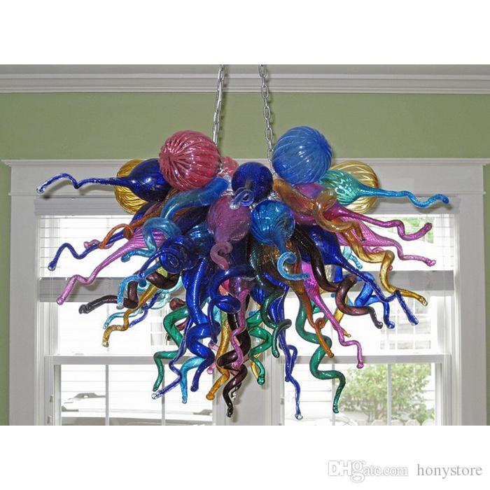 Lustre Art Multicolor Lampe en verre de Murano Pendentif Lampes de style occidental Blown Lustre en verre pour Salon Chambre