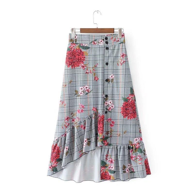 ff8c3bed5 2018 Nuevo Verano de Japón Estilo Dulce Dama Mujer Cintura Alta Botón de  Moda Casual Flwor Falda Media Longitud Faldas Medias de Señora