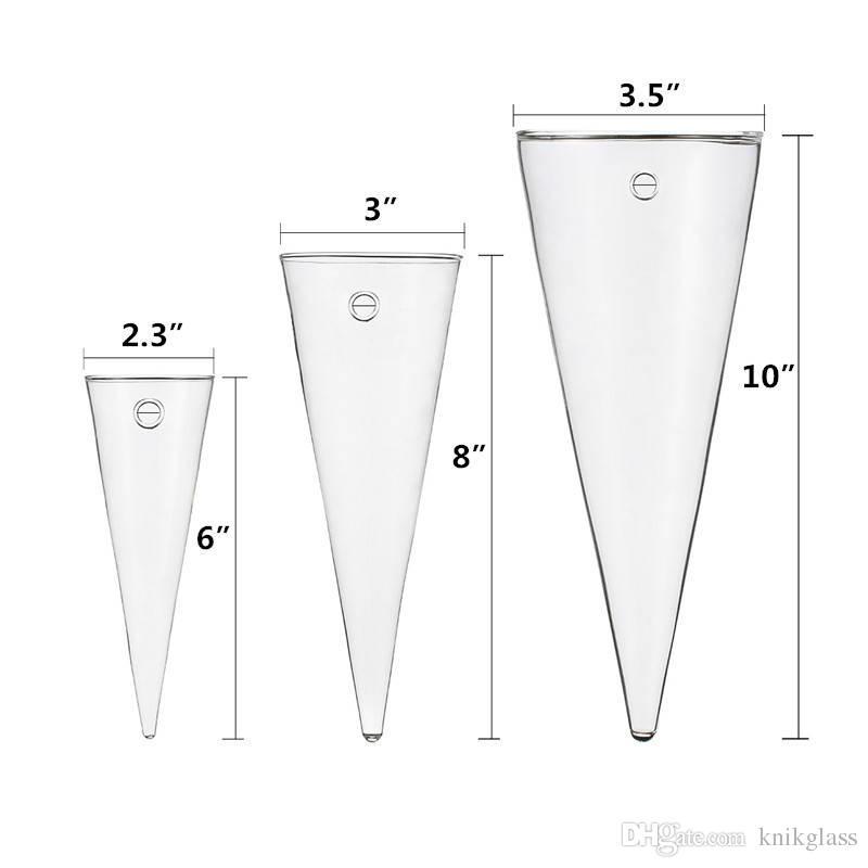 Packung mit 3 Kegelform klare Glaswand Blumenvase für Zimmerpflanzen Mode Wanddekoration für neue Haus einzigartige Geschenke für Freunde