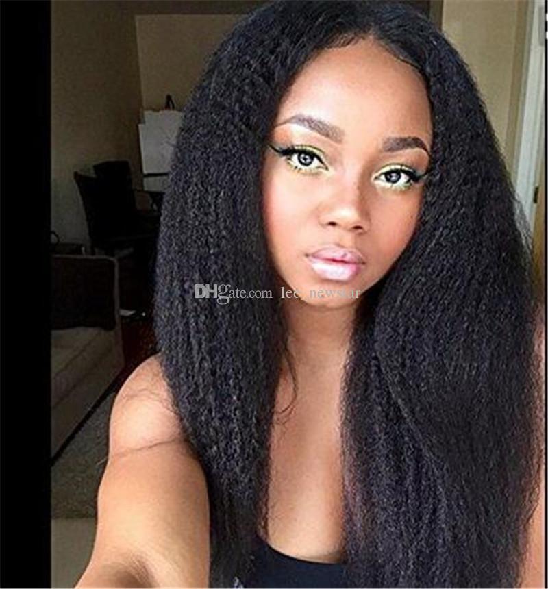 Brazilian Kinky Straight African American Full Lace Wigs Human Hair Wigs Best Glueless Brazilian Kinky Straight Lace Front Wigs