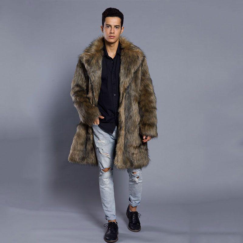 pretty nice fae0c 81552 2018 nuovi uomini di moda cappotto di pelliccia sintetica abiti autunno e  inverno lungo giacca a vento visone cappotto pelliccia artificiale taglia  ...