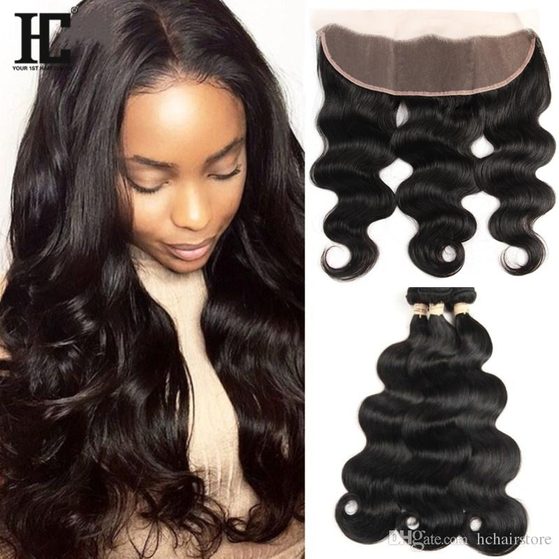 Peruvian Virgin Hair 3 Bundles Body Wave With Lace Frontal With 13x4 Ear to Ear Lace Frontal Closure With Bundles HC Hair Products