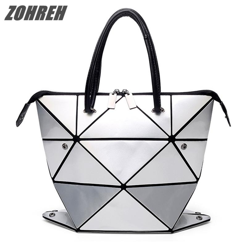 ZOHREH 2018 New Women Folded Handbags PU Leather Geometric Plaid Variety Shoulder  Bag With Scarves Diamond Tote Bags Cute Purses Rosetti Handbags From ... 78626ea3d9