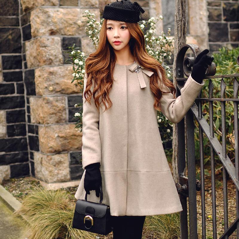Großhandel Dabuwawa Kamel Wollene Bogen Mantel Frauen Wolle Mischt