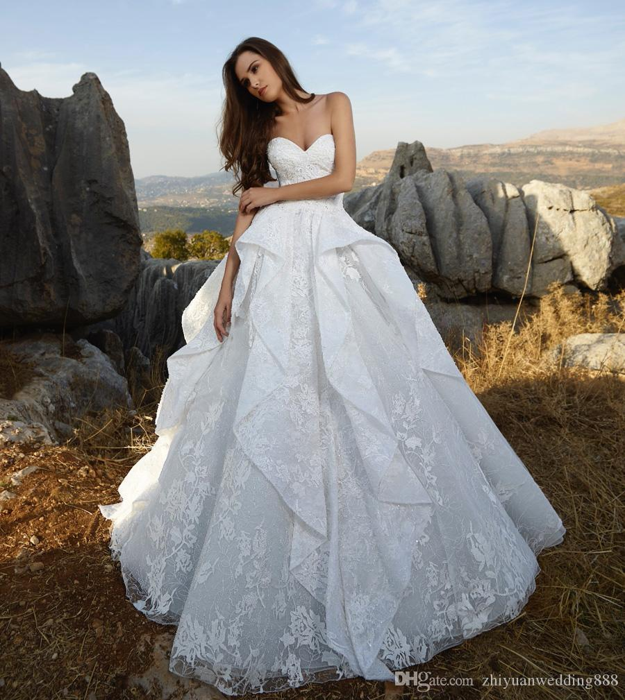 Princess Ball Gown Pleated Lace Wedding Dresses 2018 Tony Ward ...