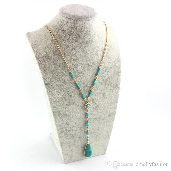 Hot KS Charms Beads Tassels Necklace Turquoise Gemstone Long Chain Sweater Necklace Jewelry for Women Lady Wholesale Jewelry in Bulk Cheap