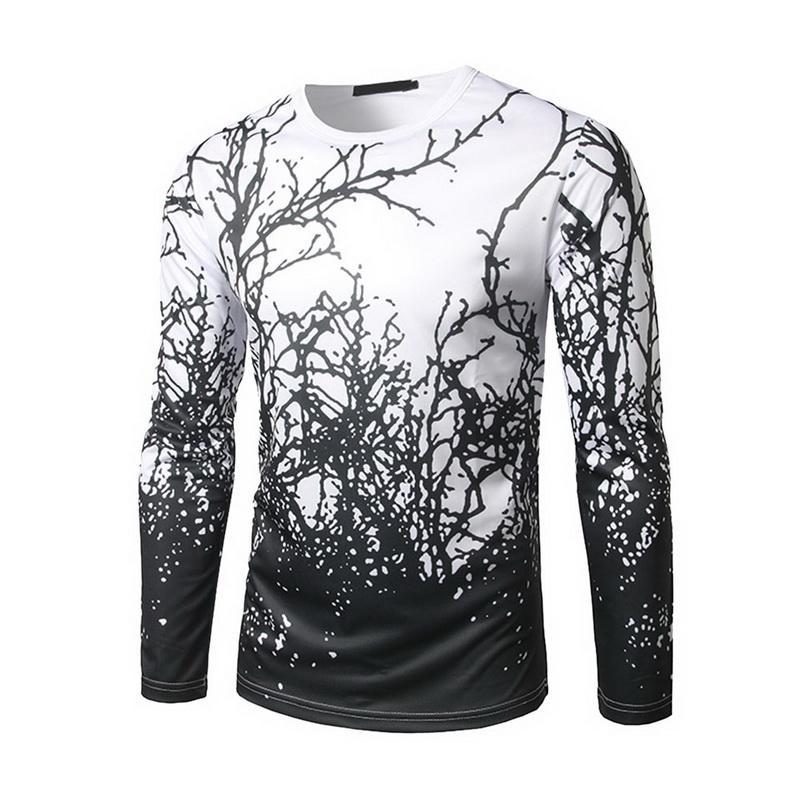 be27870df4e4e8 Acquista 2018 T Shirt Uomo 3D Stampa Manica Lunga O Collo T Shirt Da Uomo  Fitness Nero Bianco Abbigliamento Da Palestra Magliette Sportive Da Outdoor  A ...