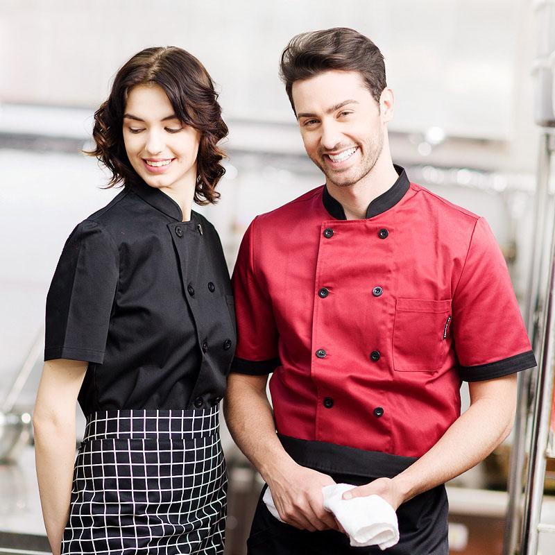 Acquista Nuova Manica Estiva Hotel Restaurant Restaurant Chef Uniformi  Abbigliamento Cucina Abbigliamento Da Cucina Uomo E Donna Grembiule A   35.18 Dal ... 9685bbe1c4ad