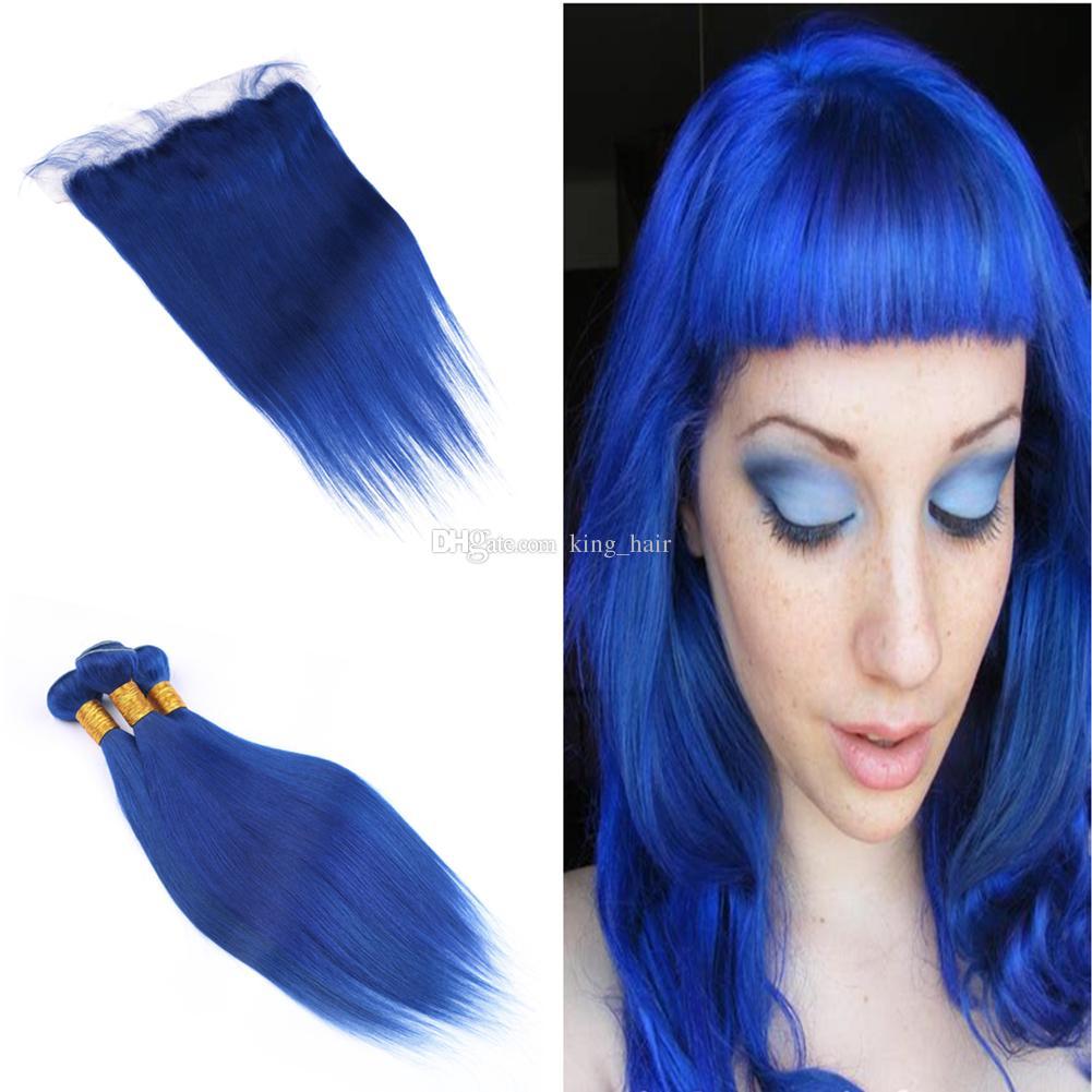 Großhandel Seidige Gerade 9a Blaue Farbe Haar 3 Bundles Mit Frontal