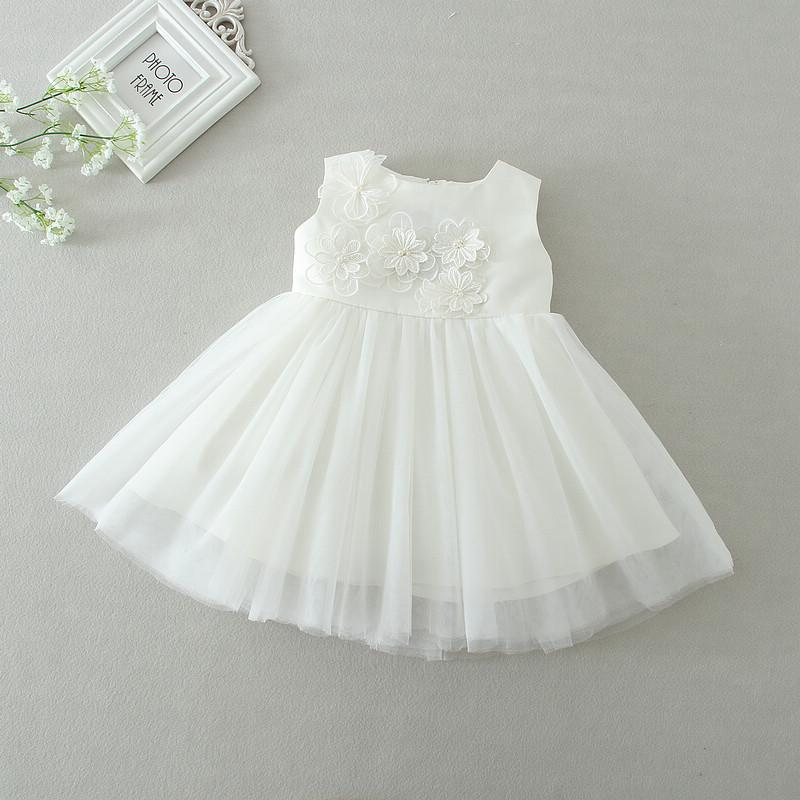 2d4ac299fa956 Acheter Nouveau Né Bébé Fille Baptême Robes 1er Anniversaire Princesse  Partie Tutu Blanc Robe De Mariage Infantile Robes 0 24 Mois Vêtements De   37.83 Du ...