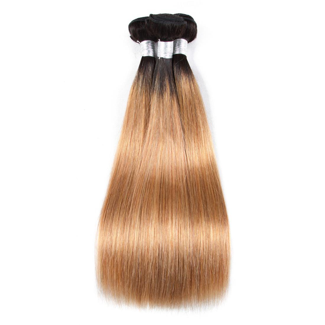 Светлые бразильские прямые волосы соткут пачки омбре 3/4 пачек 2 тон 1б 27 волос сплетя уток расширений человеческих волос 100% 12-26 дюймов