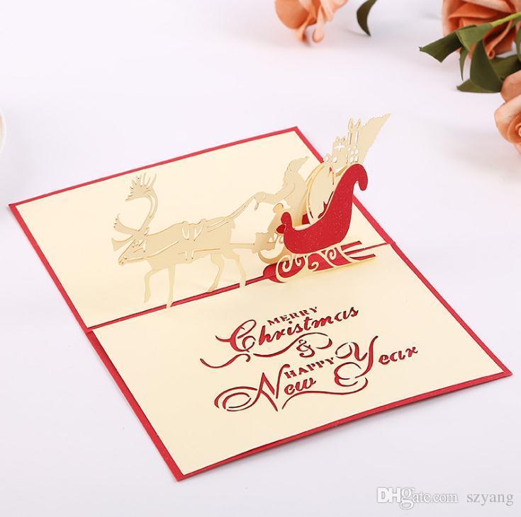 Weihnachtskarten Origami.Handgemachte Weihnachtskarten Kreative Kirigami Origami 3d Pop Up Grußkarte Mit Santa Fahrt Desgin Postkarten Für Kinder Freunde Sn2165