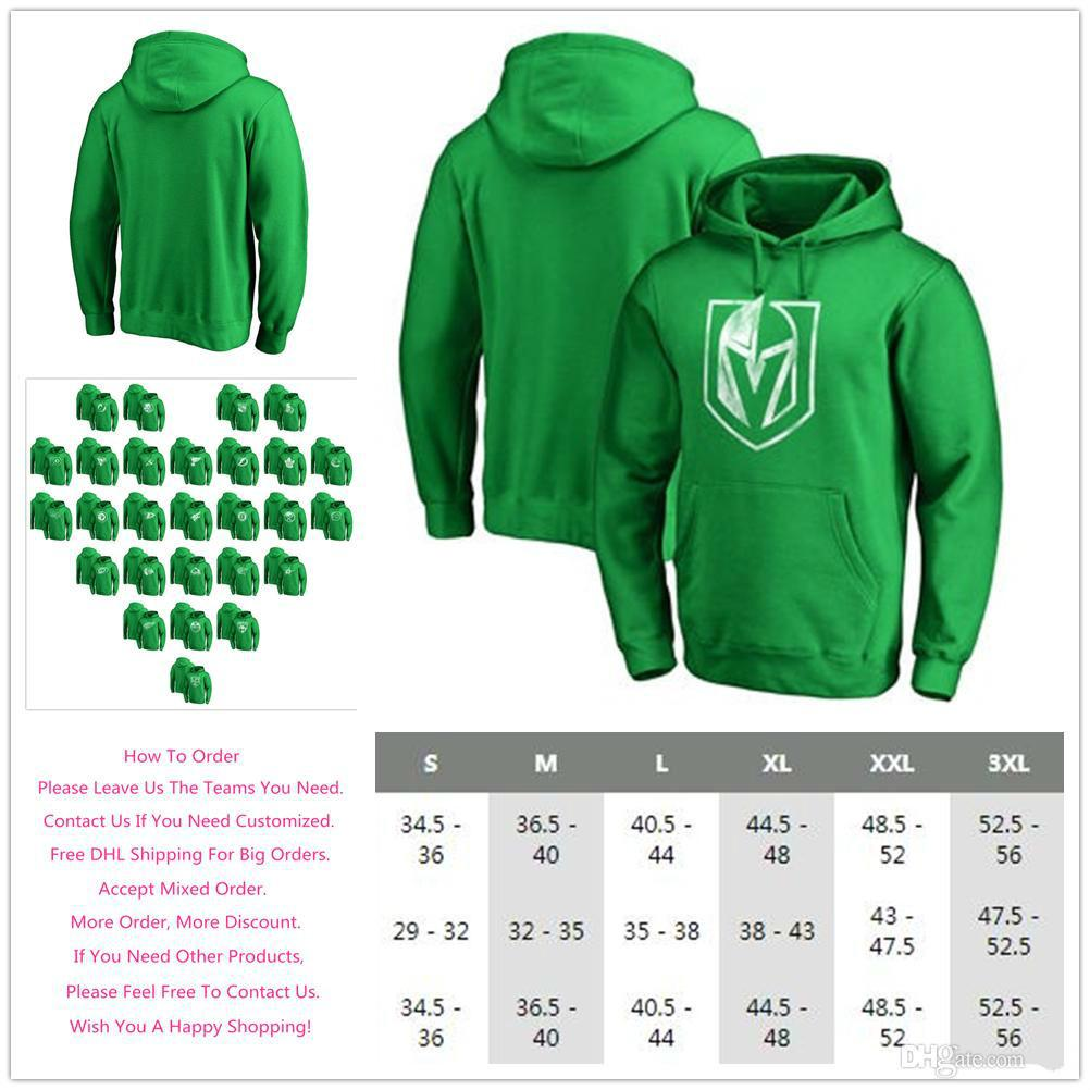 8dab3a0c0 2019 Men S 2018 Vegas Golden Knights St. Patrick S Day Fanatics Branded  White Logo Ice Hockey Sports Pullover Hoodie Kelly Green