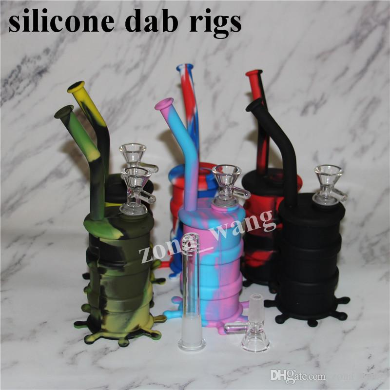 Atacado Mini Plataforma de Silicone Dab Jar Bongs Jar tubulação de Água de Silício Oil Drum Rigs bongos de água de silicone bubbler bong