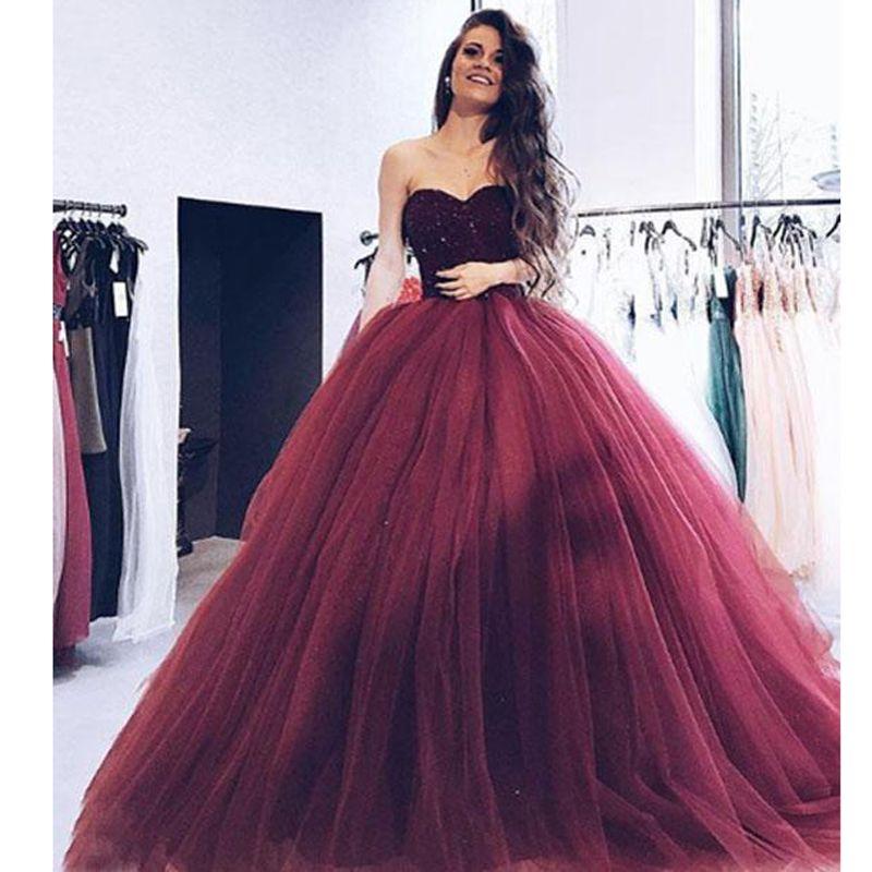 Bungundy Vestido Hermosos Falda Sweetheart De Apliques Vestidos Fiesta Largos 2018 Tulle Bola Noche Puffy ZPikXu