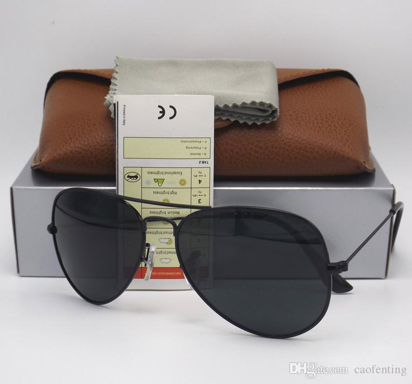 d82dff2900 Compre Alta Calidad Classic Pilot Sunglasses Diseñador De Marca Para Hombre  Para Mujer Gafas De Sol Gafas Negro Metal Negro 58 Mm 62 Mm De Vidrio G15  Lentes ...