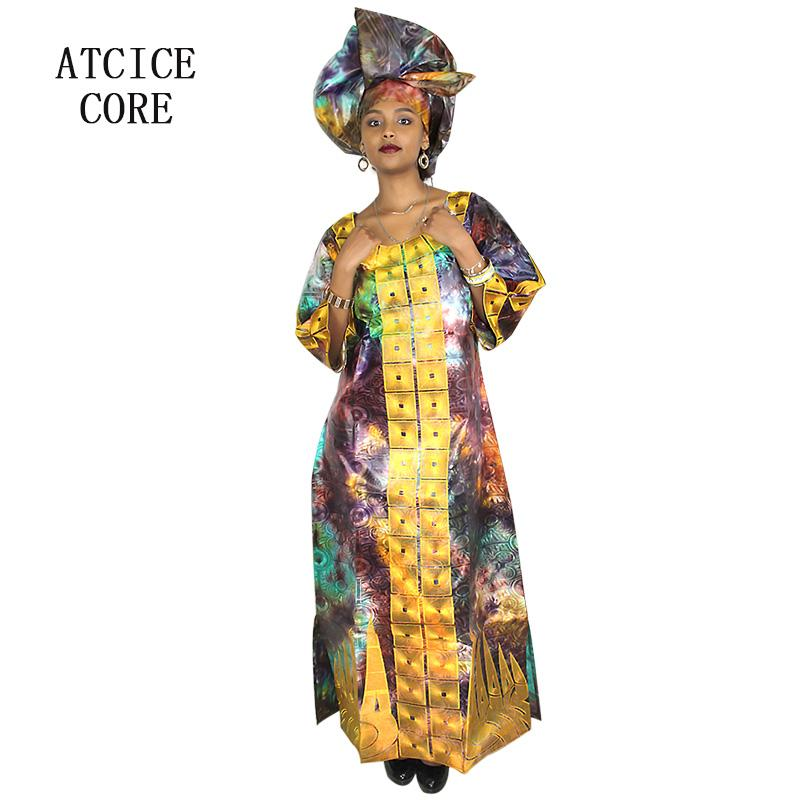 4efeccf67 Compre Vestidos Africanos Para As Mulheres Design De Moda Novo Africano  Bazin Bordado Design Dress Vestido Longo Com Cachecol Dois Pcs Um Conjunto  A077   De ...