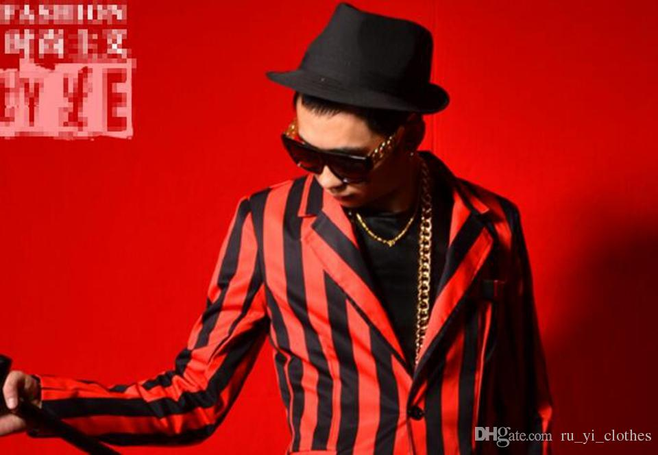 Man han edition of the new fashion personality anchor bar singer stage costumes dance dress red and black striped blazer M - 2xl
