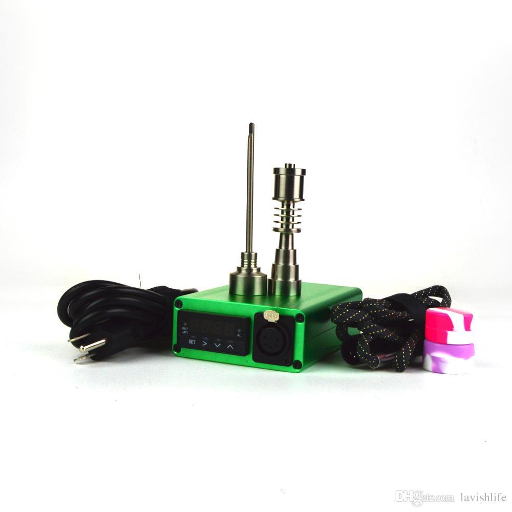 Kit chiodo E portatile Tappo in titanio Tappo elettrico regolabile a base di erbe unghie acqua in vetro Bongs WKQ-03