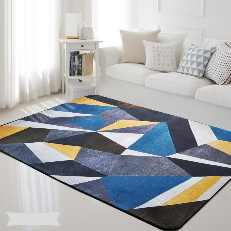 Colorful Geometric Blue Grey Printed Rectangle Carpet Rugs For ...