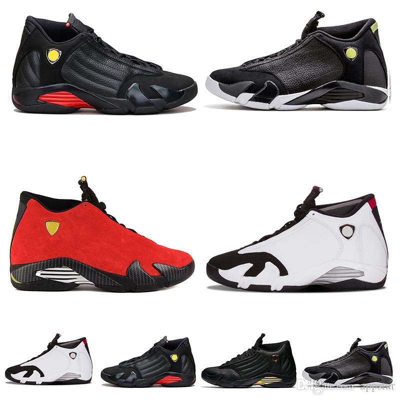 pretty nice 7b647 99ca5 Wholesale 14 14s Mens Basketball Shoes Black Toe Fusion Varsity Red Suede  Thunder Last Shot DMP Desert Sand Sport Sneakers shoes us 7-13