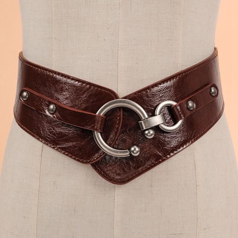 Compre Cinturón Elástico Ancho Cinch Cinturón De La Mujer Rocker Moda Oro  Remache De Metal Cinturones Anchos Para La Capa Del Vestido Cummerbund 105  Cm ... cd9a69edde22