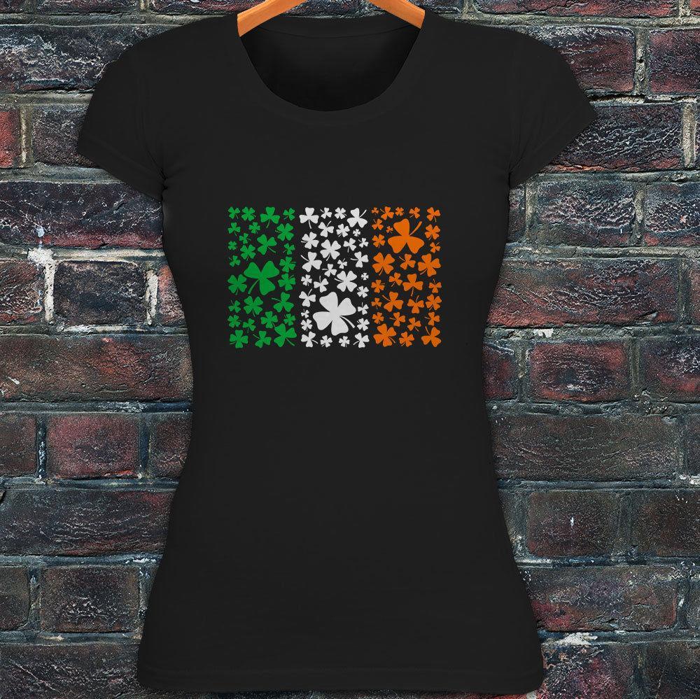 bf6bdda5974 2019 IRELAND CLOVER FLAG IRISH LUCK ST. PATRICK S DAY Womens Black T Shirt  From Shitan10