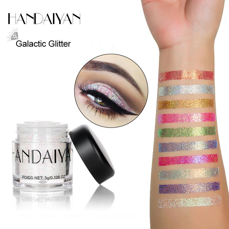 Handaiyan New 10 Color Glitter Eyeshadow Powder Multi-functional Lip Eyes Sequins Shimmer  Eye Shadow Powder Silver White