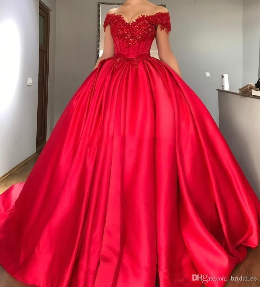 Newest Off The Shoulder Red Ball Gown Quinceanera Dresses Appliques Beaded Satin Corset Lace Up Prom Dresses Sweet 16 Dresses